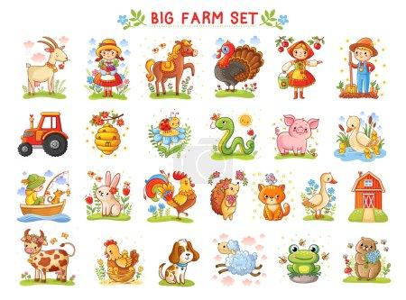 Illustration pour Série d'illustrations vectorielles d'animaux de ferme. Une collection d'animaux de ferme et d'animaux sauvages. Une grande ferme - image libre de droit