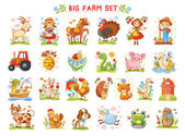 Set of vector illustrations of farm animals A collection of farm animals and wild animals A Big farm