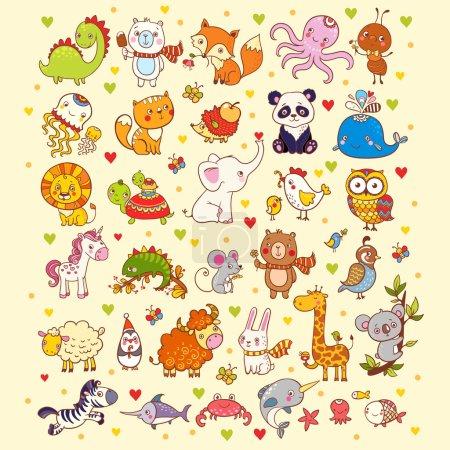 Photo pour Ensemble vectoriel mignon d'animaux, de poissons et d'oiseaux : girafe, renard, éléphant, chat, lion, zèbre, baleine, panda, hibou . - image libre de droit