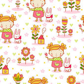 Cute cartoon girl seamless pattern