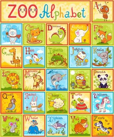 Illustration pour Alphabet animaux anglais pour enfants complet énoncées avec plaisir différent animaux de dessin animé. ABC. Conception de Zoo alphabet dans un style coloré - image libre de droit
