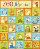 Complete children's english animal alphabet spelt out with different fun cartoon animals ABC Zoo alphabet design in a colorful style