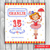 invitation card with a cute circus girl
