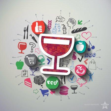 Illustration pour Collage Café avec fond d'icônes. Illustration vectorielle - image libre de droit