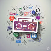 Entertainment and music collage with icons background Vector illustration