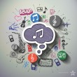 Music and entertainment collage with icons backgro...