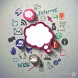 Social media collage with icons background. Vector...