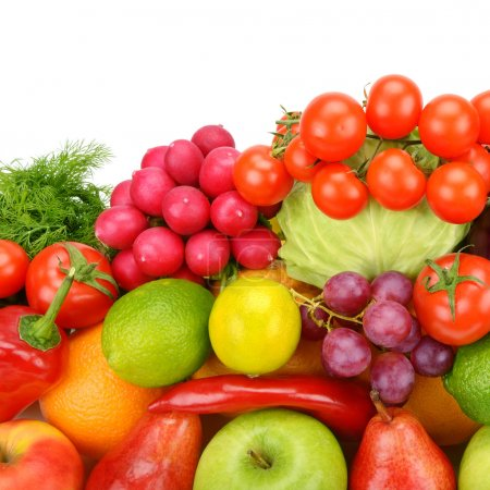 Photo for Collection of vegetables and fruits isolated on white background - Royalty Free Image