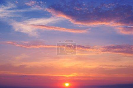 Beautiful sunrise and cumulus clouds