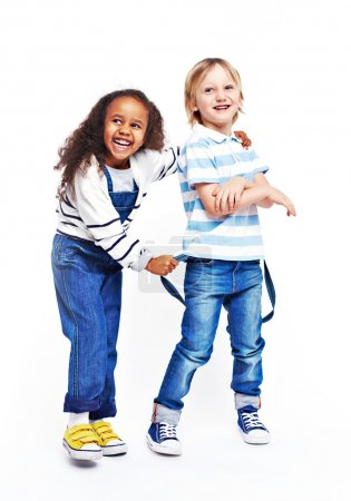 Photo for Happy little friends in casual wear - Royalty Free Image