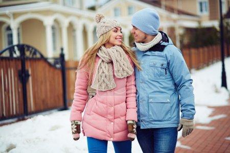 couple talking outdoors