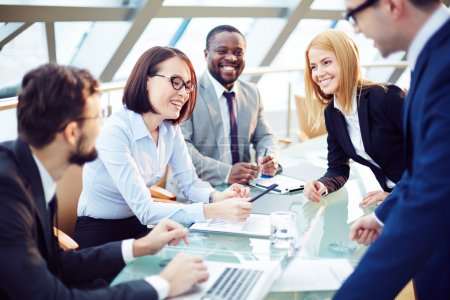 Photo for Positive business team working at office - Royalty Free Image