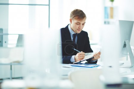 businessman working at his workplace