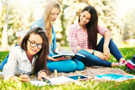 Photo for Teenage girl making notes while relaxing outdoors on background of her friends - Royalty Free Image