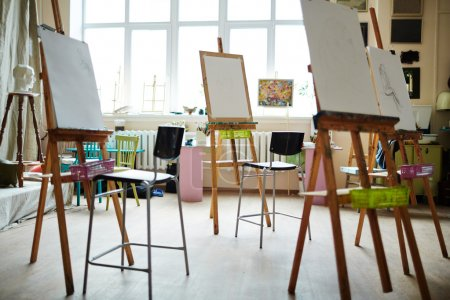 Studio of painting with easels and chairs