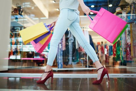 woman in casual wear after shopping