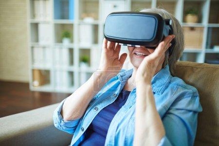 woman in virtual reality headset