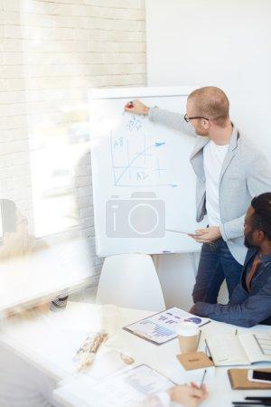 Businessman explaining financial data