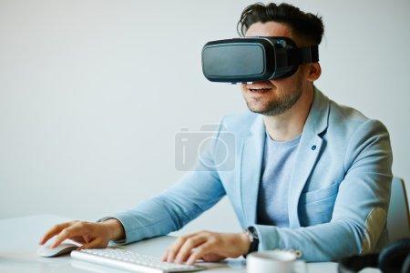 businessman using virtual computer