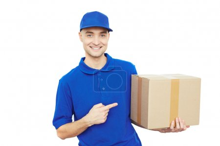 delivery man pointing at box