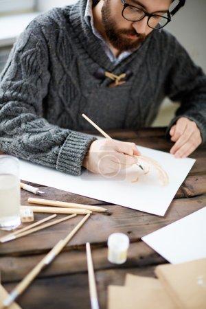 Photo pour Peinture d'artiste moderne portrait de quelqu'un avec aquarelle - image libre de droit