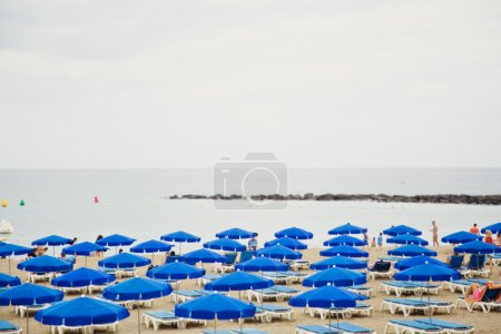 Sandy beach with deck-chairs and umbrellas