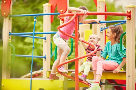 Little girls playing in the playground