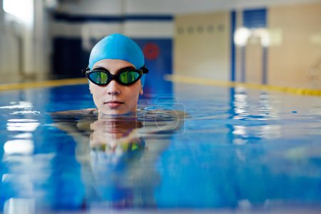 Swimmer in rubber cap