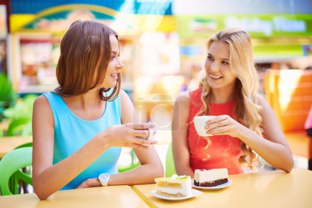 Portrait of two girls having cheesecakes with coff...
