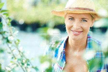 Female farmer in hat