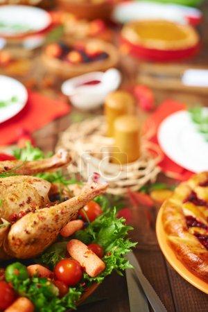 Roasted turkey on festive table