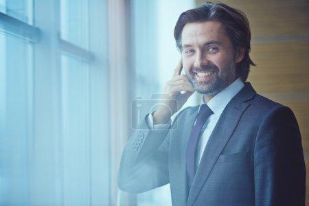 portrait of calling businessman