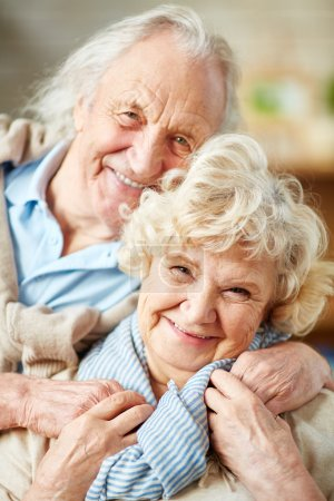 Affectionate elderly man and woman