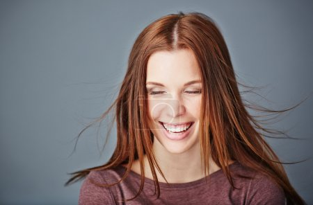 Ecstatic woman with long hair