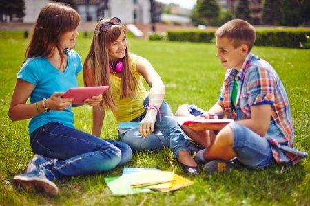 Friendly teenagers sitting on lawn