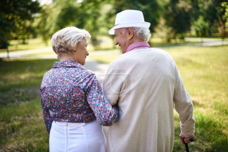 Photo for Rear view of senior couple taking walk in park - Royalty Free Image