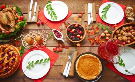 table served for thanksgiving dinner
