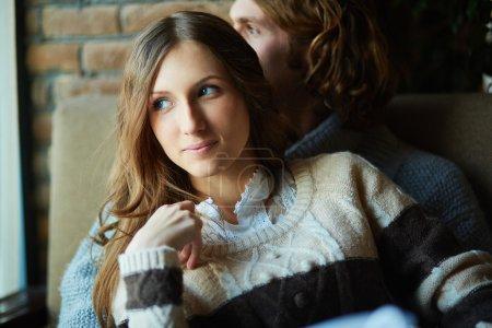 Amorous girl with her sweetheart
