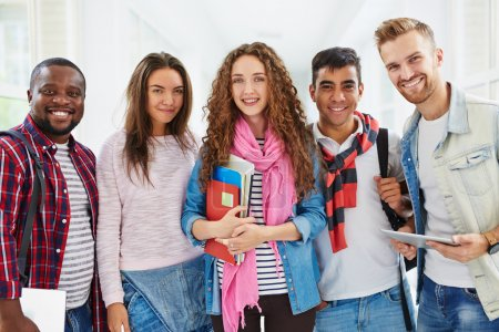 students in college corridor