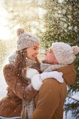 Young amorous couple in winter