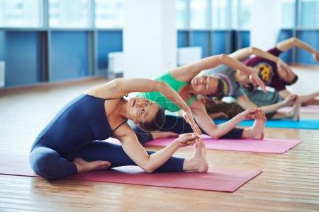 people doing stretching exercise on mats