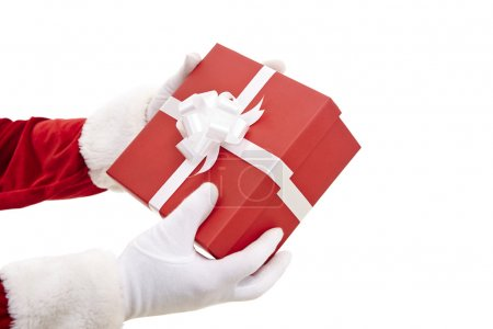 Santa Claus hands holding package