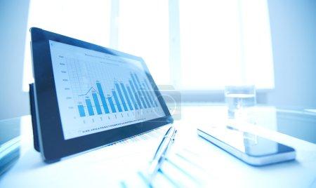 gadgets, pen and financial data
