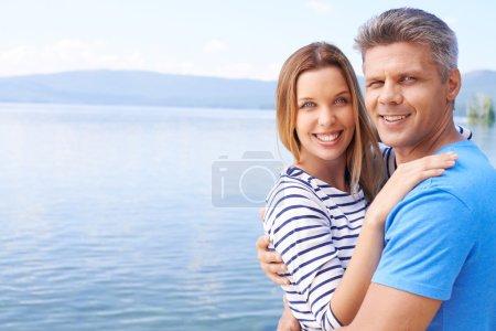 Amorous couple at summer resort