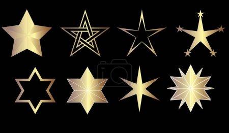 8 goldglitzernde Sterne
