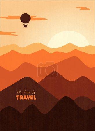 Illustration pour Ballon survolant les montagnes au coucher du soleil, plan monochrome orange, illustration vectorielle - image libre de droit