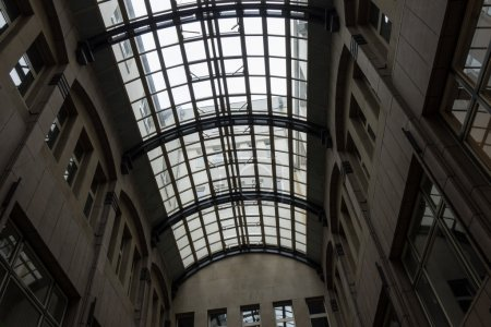 Glass roof of the building in the courtyard in Cologne