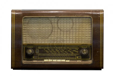 Dusty old radio on a white background
