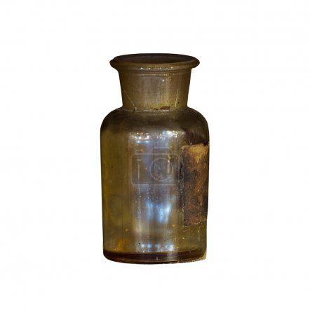 The Old chemical bottle on white background