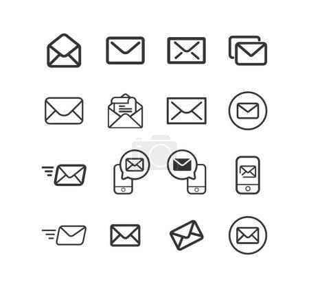 Illustration pour E-Mail, Envoi d'un ensemble d'icônes de ligne vectorielle de message. - image libre de droit
